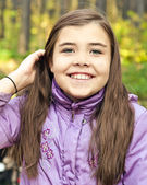 Laughing beautiful girl, autumn — Stock Photo
