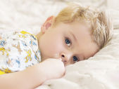 Baby wakes up after sleep — Stock Photo