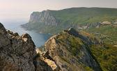 Panorama della costa meridionale della crimea rocce — Foto Stock