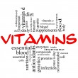 Stock Photo: Vitamins Word Cloud Concept in red & black