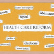 Healthcare Reform Corkboard Word Concept — Photo