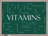 Vitamins Word Cloud Concept on a Blackboard — Stock Photo