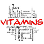 Vitamins Word Cloud Concept in red & black — Stock Photo