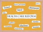 Concept de réforme de la santé sur visages mot — Photo