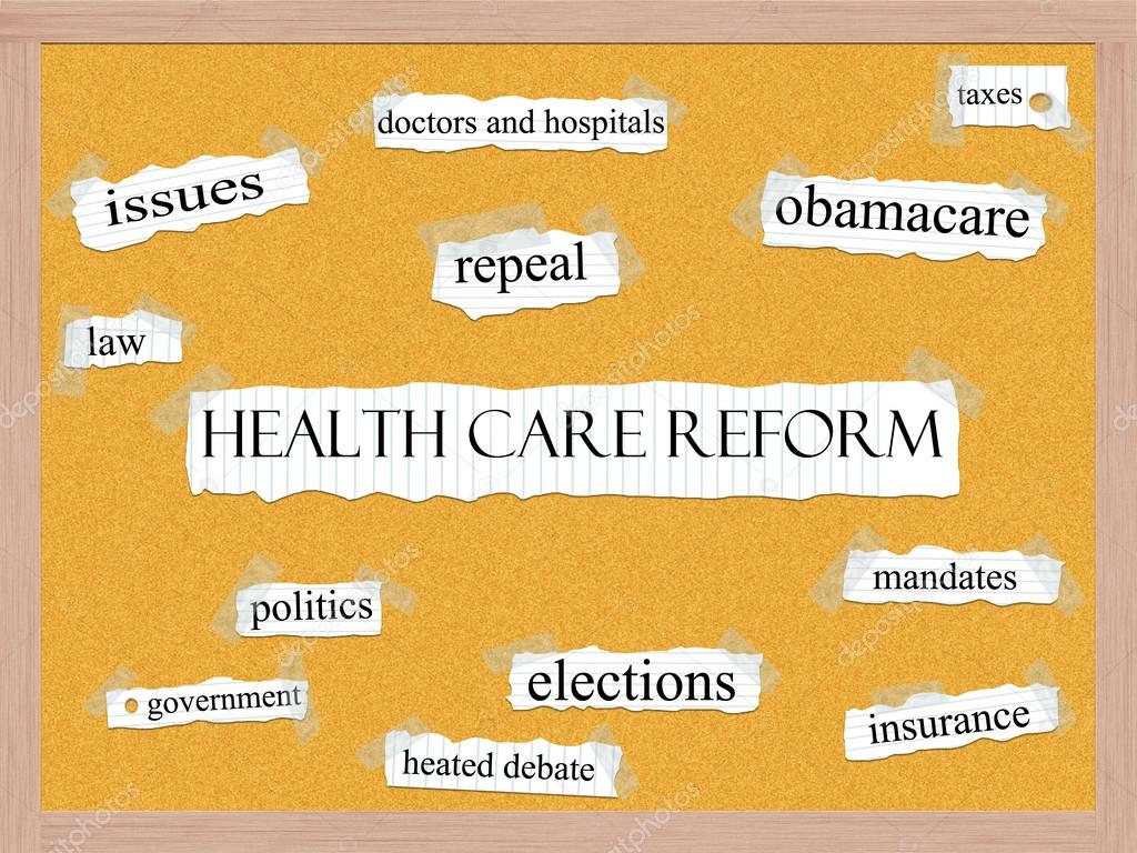 Healthcare Reform word cloud concept with words on notebook paper taped on a corkboard and great terms such as obamacare, mandates, insurance, taxes, politics and mo — Stock Photo #12438277