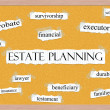 Estate Planning Corkboard Word Concept — Stock Photo