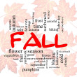Fall or Autumn Word Cloud Concep on leaves — Stock Photo