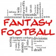 Foto Stock: Fantasy Football Word Cloud Concept in Red & Black
