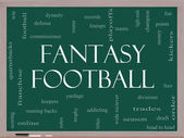 Fantasy Football Word Cloud Concept on a Blackboard — Stock Photo