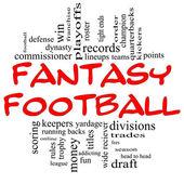 Fantasy Football Word Cloud Concept in Red & Black — Fotografia Stock
