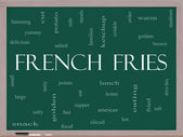French Fries Word Cloud Concept on a Blackboard — Stock Photo
