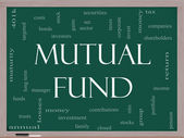 Mutual Fund Word Cloud Concept on a Blackboard — Stock Photo