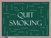 Quit Smoking Word Cloud Concept on a Blackboard — Stock Photo