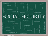 Social Security Word Cloud Concept on a Blackboard — Stock Photo