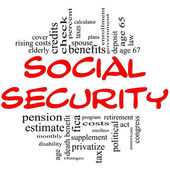 Social Security Word Cloud Concept in red & black — Stock Photo