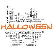 Halloween Word Cloud Concept in Orange & Black — Stock Photo