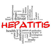 Hepatitis Word Cloud Concept in red & black — Stock Photo