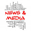 Stock Photo: News and Media Word Cloud Concept in red & black