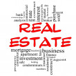 Real Estate Word Cloud Concept in red & black — Stok fotoğraf