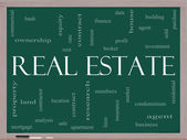 Real Estate Word Cloud Concept on a Blackboard — Stock Photo