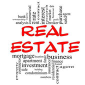 Real Estate Word Cloud Concept in red & black — Foto Stock