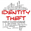 Identity Theft Word Cloud Concept in red & black — Stock Photo