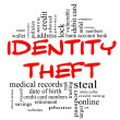Royalty-Free Stock Photo: Identity Theft Word Cloud Concept in red & black