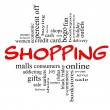 Stock Photo: Shopping Word Cloud Concept in red & black