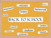 Back to School Corkboard Word Concept — Stock Photo