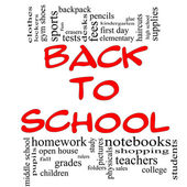Back to School Word Cloud Concept in red & black — Stock Photo