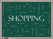 Concepto de nube de palabras en una pizarra de compras — Foto de Stock