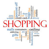 Shopping Word Cloud Concept — Stock Photo