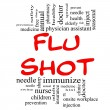 Flu Shot Word Cloud Concept in red & black - Stock Photo