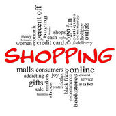 Shopping Word Cloud Concept in red & black — Stock Photo
