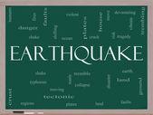 Earthquake Word Cloud Concept on a Blackboard — Stock Photo