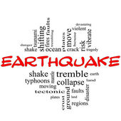 Earthquake Word Cloud Concept in red & black — Stock Photo