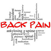 Back Pain Word Cloud Concept in black & red — Stock Photo