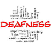 Deafness Word Cloud Concept in red & black — Stock Photo