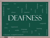 Deafness Word Cloud Concept on a Blackboard — Stock Photo