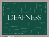 Deafness Word Cloud Concept on a Blackboard — Stock Photo