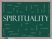 Spirituality Word Cloud Concept on a Blackboard — Stock Photo