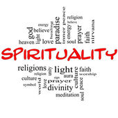 Spirituality Word Cloud Concept in red & black — Stock Photo