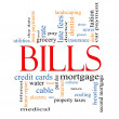 Bills Word Cloud Concept — Stock Photo