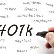 Stock Photo: 401k being handwritten