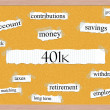 401k Corkboard Word Concept — Stock Photo