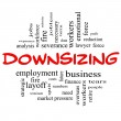 Downsizing Word Cloud Concept in red & black — Stock Photo