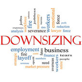 Downsizing Word Cloud Concept — Stock Photo