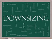 Downsizing Word Cloud Concept on a Blackboard — Stock Photo