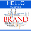 Brand Word Cloud Nametag Concept — Stock Photo