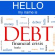 Debt Word Cloud Nametag Concept — Stock Photo
